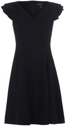 DKNY Occasion Occasion Ruffle Sleeveless Crepe Dress