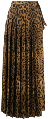 Atu Body Couture Leopard Print Pleated Skirt