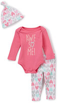 Baby Starters Hot Pink & White 'Awesome' Bodysuit Set - Infant