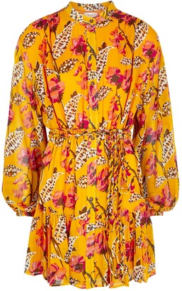 A.L.C. Jen Floral-print Plisse Shirt Dress