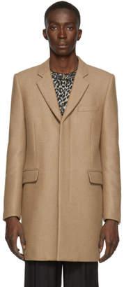 Saint Laurent Tan Camel Diagonal Tailored Coat