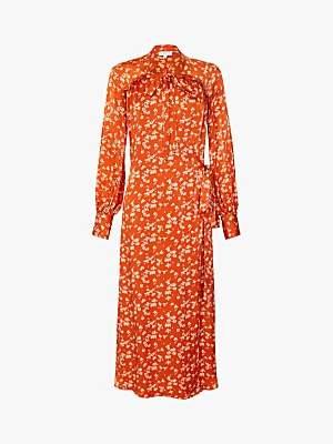 Ghost Lyn Ditsy Print Tie Neck Maxi Dress, Rowena Red