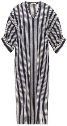 Three Graces London Livietta Striped Open-weave Cotton-blend Kaftan - Navy Stripe