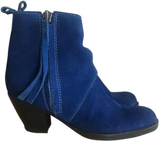 Acne Studios Pistol Blue Suede Ankle boots