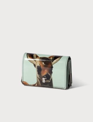 Burberry Deer Motif Leather Card Case with Detachable Strap