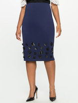 ELOQUII Plus Size Floral Applique Pencil Skirt