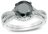 Zales 2 CT. T.W. Enhanced Black and White Diamond Twist Bridal Set in 14K White Gold
