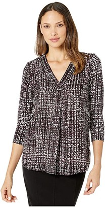 Calvin Klein Printed Long Sleeve Top with Chiffon Overlay (Aubergine Combo) Women's Clothing