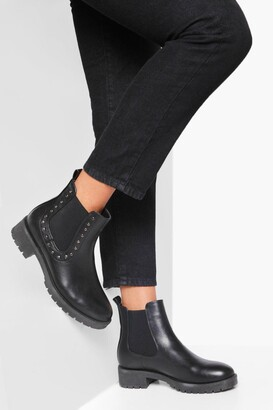 boohoo Stud Detail Chunky Chelsea Boot