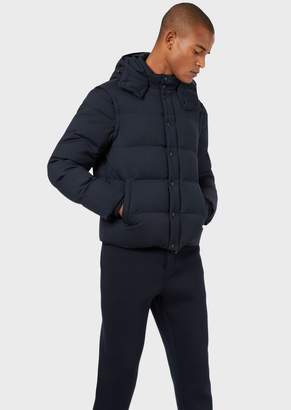Emporio Armani Wool Twill Down Jacket With Removable Sleeves