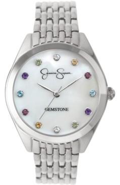 Jessica Simpson Women's Genuine Gemstone Silver Tone Bracelet Watch 37mm