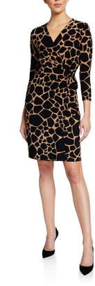 Anne Klein Printed Faux Wrap 3/4 Sleeve Dress