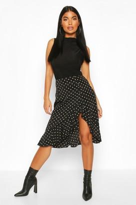 boohoo Petite Ruffle Polka Dot Midi Skirt