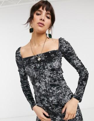 Bershka velvet volume sleeve top in floral print