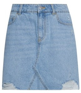 Dorothy Perkins Womens Dp Petite Light Blue Rip Denim Skirt