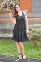 Balinese Black Cotton Knee Length Sundress, 'Balinese Night'