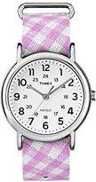 Timex Women's TW2R24200 Weekender Pink Gingham Nylon Slip-Thru Strap Watch