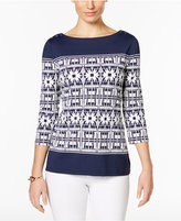 Charter Club Boat-Neck Scarf-Print Top, Only at Macy's