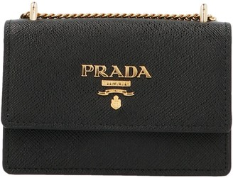 Prada Logo Chain Strap Card Holder