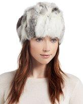 Adrienne Landau Knit Rabbit Fur Hat, Goma Gray