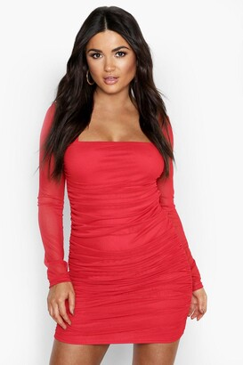 boohoo Square Neck Ruched Mesh Bodycon Dress
