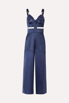 Fleur Du Mal Cutout Silk-charmeuse Jumpsuit - Navy