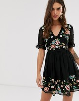 Asos Design DESIGN embroidered mini dress with lace trims