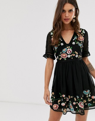 Asos Design DESIGN embroidered mini dress with lace trims-Black