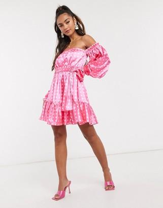 John Zack satin off shoulder mini dress in pink polkadot