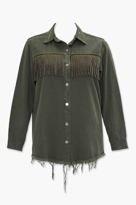 Forever 21 Plus Size Studded Fringe Jacket