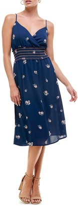 Rowa Smocked Waist Midi Dress