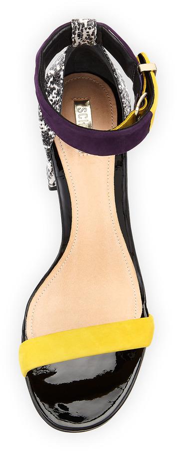 Schutz Ensa Colorblock Chunky Sandal, Canario/Acai/Natural