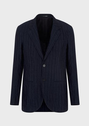 Emporio Armani Single-Breasted Pinstriped Jacket In Blend Of Washed Linen And Silk