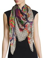 Gucci GG Jubilee-Print Shawl, Dark Blue/Light Purple