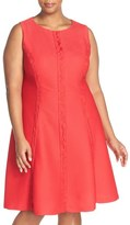 London Times Lace Inset Sleeveless Fit & Flare Dress (Plus Size)