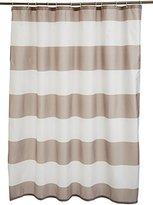 AmazonBasics Printed Fabric Shower Curtain, 180 x 180cm, Grey Stripe