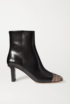 AEYDĒ Belle Snake-effect And Smooth Leather Ankle Boots - Black