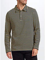 John Lewis Long Sleeve Stripe Polo Shirt, Navy