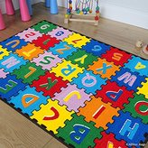 "Allstar Kids / Baby Room Area Rug. A-Z 1-9 Learn ABC / Alphabet Puzzle. Bright Colorful Vibrant Colors (4' 11"" x 6' 11"")"