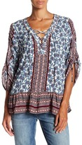 Democracy Ruched Sleeve Printed Blouse