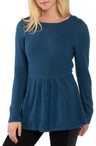 Kensie Warm Touch Cable-Knit Crewneck Peplum Sweater