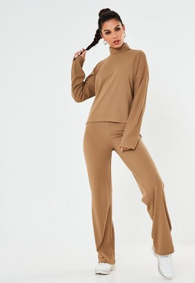 Missguided Camel Co Ord Ribbed Wide Leg Pants