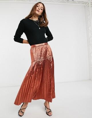 ASOS DESIGN metallic pleated maxi skirt
