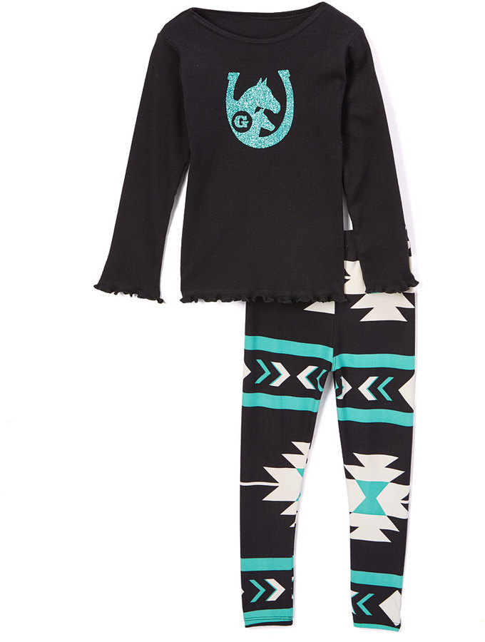 Beary Basics Black Horseshoe Intial Tee & Geometric Leggings Set - Toddler & Girls