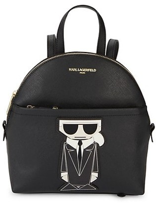Karl Lagerfeld Paris Logo Faux Leather Backpack