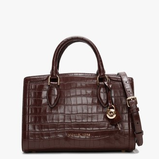 Michael Kors Zoe Crocodile Embossed Barolo Leather Satchel Bag