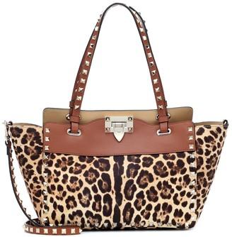 Valentino Rockstud Small leopard-print tote