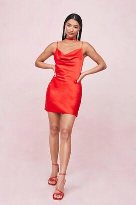 Nasty Gal Womens Choker Cowl Neck Satin Slip Mini Dress - Red - 10