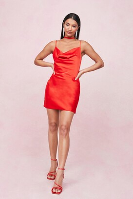 Nasty Gal Womens Choker Cowl Neck Satin Slip Mini Dress - Red - 8