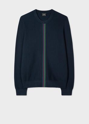 Men's Navy Waffle-Knit 'Sports Stripe' Sweater